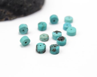 Turquoise Round Rondelles Genuine Turquoise 6x4mm 12pcs