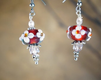 Earrings, Floral Lamp Work Glass Beads with Silver Tone Metal Accents and Spacers on Nichol Free Ear Wires, Dangle Earrings