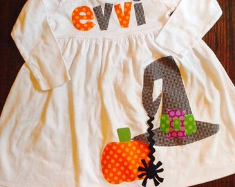 Fall Dress - Halloween Dress - Witch Hat Applique - You Choose Dress Color and Sleeve Length