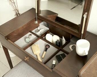 Walnut Mid Century Mini Table, Dressing Table; Mid Century Dresser, Mid  Century Vanity