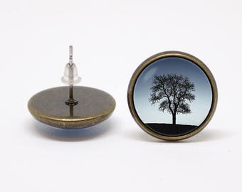 Tree earrings Lonely tree Nature earrings Tree jewelry Nature jewellery Family jewelry Gift for women Unique gift Nature jewelry Night sky