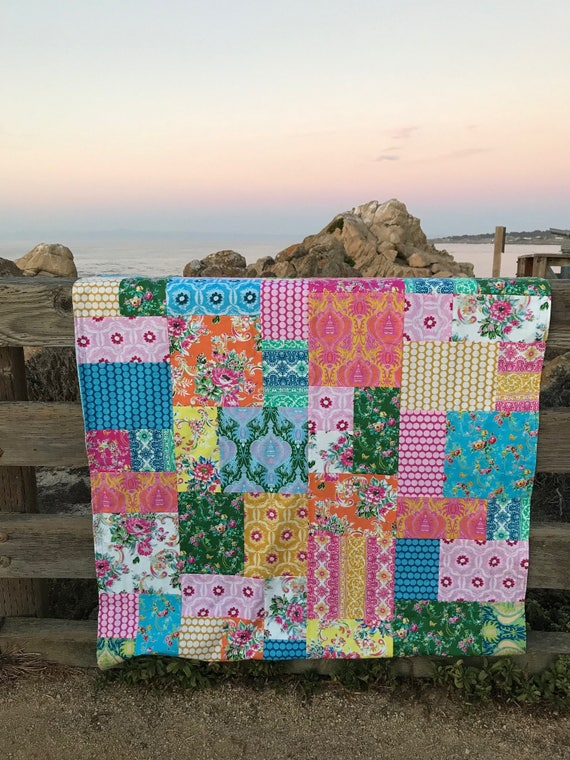Pre Order Jennifer Paganelli Sugar Beach Patchwork and Minky Blanket