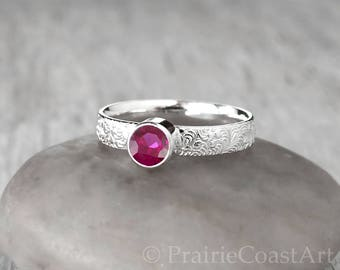 Silver Ruby Ring - Sterling Silver - Handcrafted Ruby Ring -  Ruby stacking Ring - July Birthstone Ring