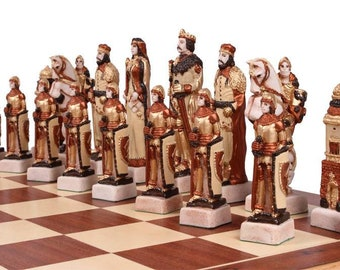 Hand Painted Marble Chess Set (Grunwald)