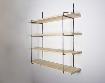 SALE! - Unpainted Shelving Unit with 4 Shelves - Shelving - Bookcase Shelving - Wall Shelving - Steel Shelving - Round Metal Brackets