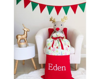 Handmade Red Christmas Santa Sack with Christmas trees