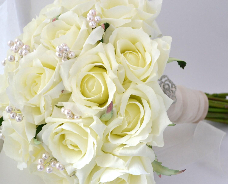 White Rose Bouquet White Cream Roses Blush Accents Silk