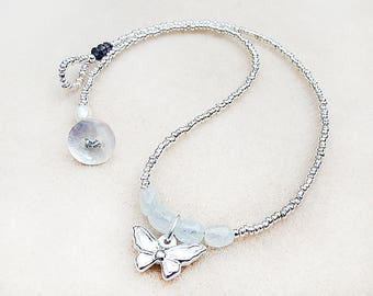 Butterfly Necklace, Boho, Sterling Silver, Butterfly, Charm, Aquamarine, Iolite, Pearl, Aqua, Silver, Handmade, Gift for Teen, Gift for Her