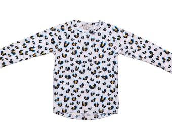 White leopard kids rash vest - UPF 50+ protection