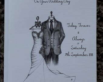 Handmade Personalised A5 Wedding Card Hand Drawn Design With A6 Money Card