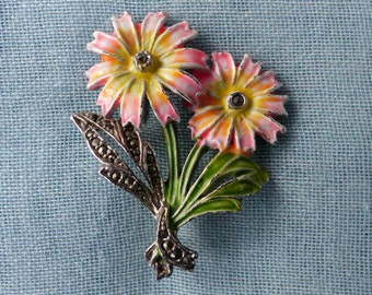 Vintage 1940s/50s - Rhodium-plated Flower Brooch with Marcasite and Peachy-Orange and Green Cold-painted Enamels