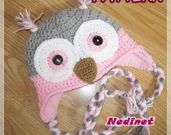 Crochet pattern, Owl crochet hat PATTERN, Crochet hat pattern, Crochet pattern baby, crochet baby hat, crochet owl, crochet hat kids