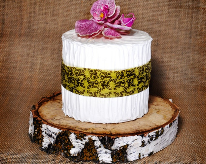 White Birch Rustic Wood Cake Slab