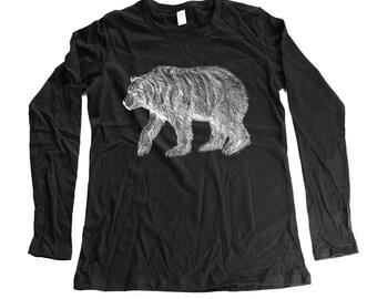 bear - womens longsleeve bear shirt - grizzly long sleeve- organic clothing - cotton - small - medium- large - xl - 2XL