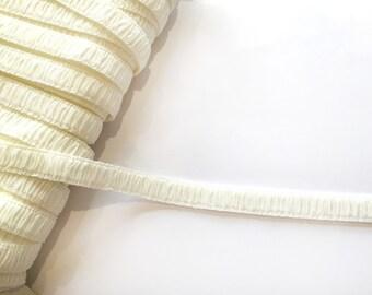 Cream Ruched Strap Elastic - 2 m / 14 mm - Lingerie Elastics