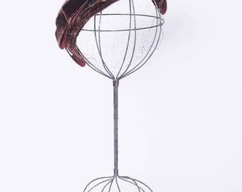 Vintage 50s velvet fascinator / velvet half hat / veiled hat / cocoa velvet fascinator / hat with bow