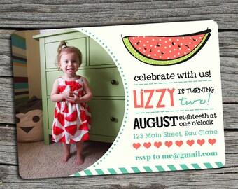 Watermelon Birthday Invitation with Photo - Printable Invitation or Printed
