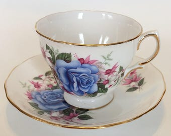 Vintage Royal Vale Large Blue Rose English Tea Cup and Saucer bone china