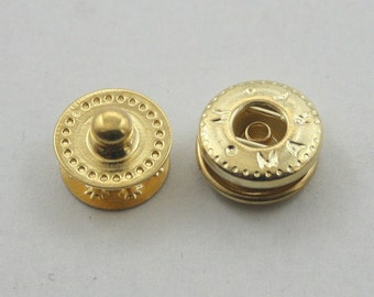 20 sets. Gold Snaps Buttons Fasteners Rivets Studs Decorations Findings 12 mm. VT G5 K