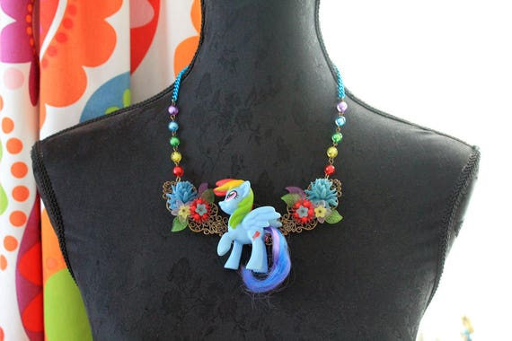 Kawaii Poney Pony Horse Necklace with Bow in Pink Lolita fairy kei decoden rainbow OOAK