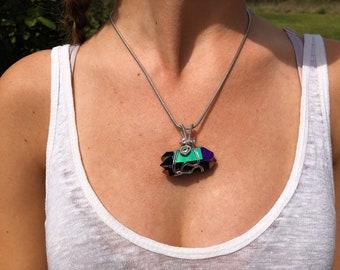 Double Terminated Rainbow Aura Crystal + Silver