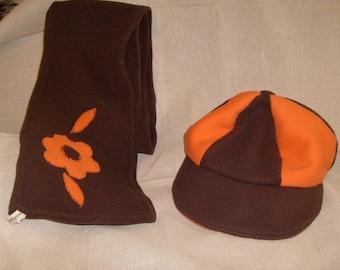 reversible newsboy hat and matching fleece scarf!