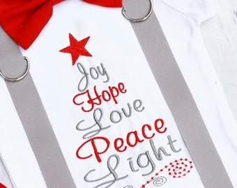 Joy Hope Love Peace Light Baby boy Christmas Onesie, Boy Christmas Bodysuit outfit with matching Bow tie suspenders