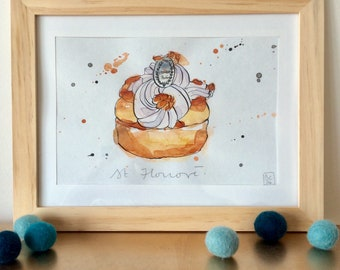 Saint Honoré Illustration - French Cake - Pastry  - Original Ink and Watercolour on Paper