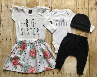 Big sister little brother sibling set, sibling shirts, pregnancy announcement shirt, baby announcement shirt