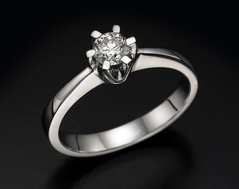 0.50 CT round cut G/SI1 diamond solitaire 6 prong engagement ring 14K white gold