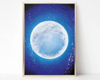 Blue Moon art print watercolor poster