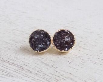 Druzy Earrings, Druzy Earrings Studs, Black Druzy Earrings, Druzy Studs, Black Earrings Gold, Minimalist Earrings, Anniversary Gift G7-420
