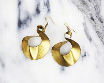 Vintage Muted Gold Abstract Design Brass Earrings