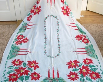 Vintage Christmas Tablecloth, Red Green Tablecloth, Poinsettia Tablecloth, Holiday Tablecloth, Vintage Christmas Linen, Poinsettias Linen