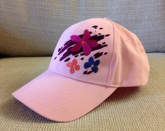 Hand Stitched Flowers on Ball Cap!