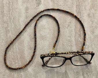 Tiger Eye Beaded Glasses Lanyard