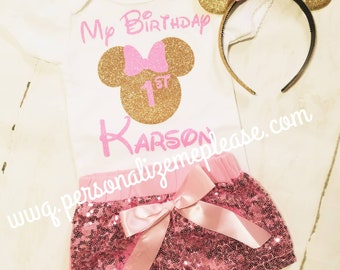 Minnie Mouse Birthday Outfit, My Birthday Outfit, Pink and Gold Birthday Outfit, Pink Sequin Shorts