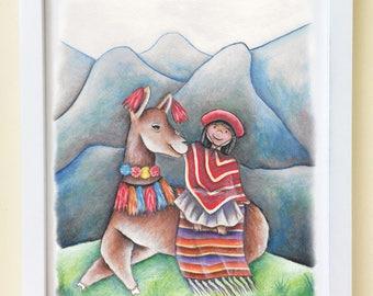 Peruvian Llama Print / Llama Nursery Decor / Cute Llama Art / Colorful Rainbow Llama Art / Colorful Alpaca Art for Baby