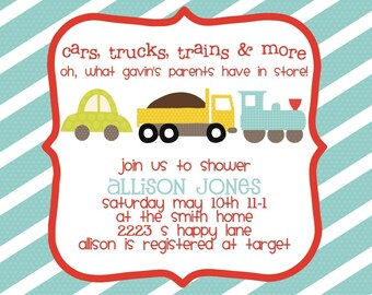 Baby Shower Invitation -- Cars Trucks Trains