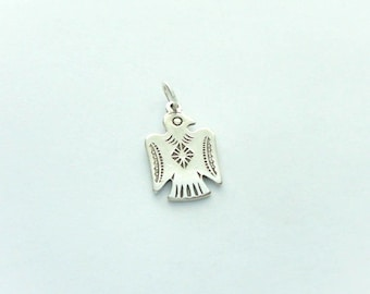 1 Sterling Silver Thunderbird Charm, Double Sided, Native American Design, Made in USA