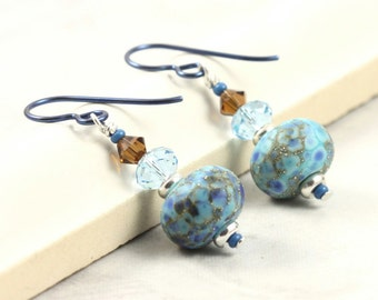 Lampwork Earrings in Brown, Navy Blue and Aquamarine Crystal Blue Niobium Ear Wires Hypoallergenic Earrings Dangle Earrings Autumn Jewelry