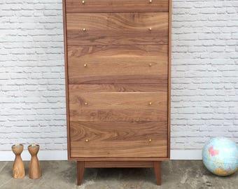 """Solid Walnut Tall-Boy Dresser - """"Dumont"""" - Mid Century Modern Inspired"""