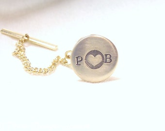 Mens PERSONALIZED tie tack Valentines gift for him custom tie pin