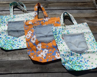 Tote bag with Upcycled Jeans Pocket