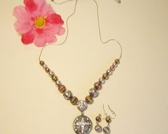 Rhinestone Silvertone Goldtone Slider Cross Necklace and Earrings   (#337)