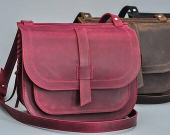 Leather bag leather purse leather handbag saddle bag leather shoulder bag leather saddle bag crossbody bag marsala saddle bag leather tote