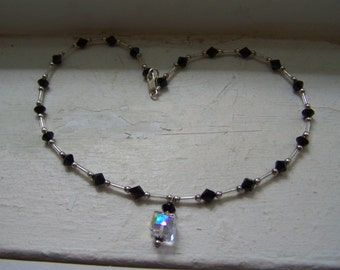 Sterling Silver Black Clear Aurora Borealis Bead Necklace