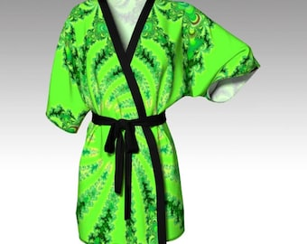 Fractal Robe, Abstract Robe, Abstract Kimono, Kimono, Dressing Gown, Beach Coverup, Bridesmaid Robe, Loungewear, Swimsuit Coverup, Girl Gift