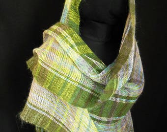 Hand Woven in the UK Shawl. Kid Mohair, Angora and Cotton.