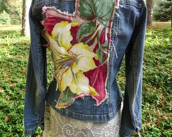 Denim Artsy Upcycled Women's SMALL Jacket Barkcloth Boho Festival Gypsy Indie